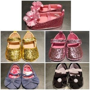 Other - Lot of 5: 0-3 month Girl Glitter Crib Shoes